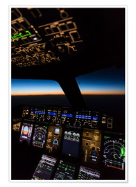 Poster  Airbus A380 Cockpit Twilight - Ulrich Beinert