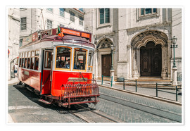 Poster  Red Tram Travelling In Lisbon City - Radu Bercan