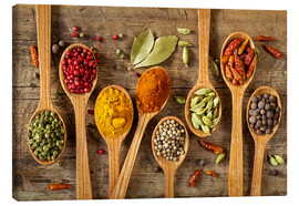 Toile  Colorful spices in wooden spoons - Elena Schweitzer