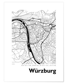 Poster  Plan de la ville de Würzburg - 44spaces