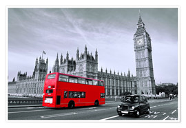Poster  Bus rouge sur le pont de Westminster - Art Couture