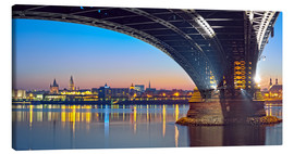 Tableau sur toile  Mainz Germany with rhine bridge - FineArt Panorama