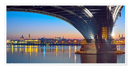 Poster Mainz Germany with rhine bridge